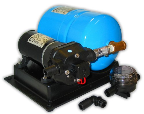 - FloJet 02840100A Marine High Volume Water System with Accumulator (4.5+ GPM, 40-PSI, 12-Volt, 11-Amp)