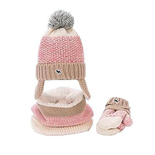(Baby Hats Baby Mittens Baby Girls Boys Winter Warm Knit Hat+Scarf/Gloves 2/3 Pieces Set)
