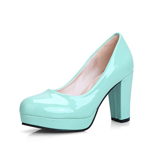 BalaMasa Womens Chunky Heels Platform Low Cut Uppers Green Patent Leather Pumps Shoes APL09656-7 B(M) US