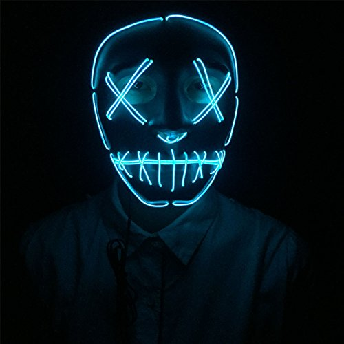 Dasheng Frightening Rave Light Up LED EL Wire Mask Kit for Dance Festival Party Halloween Cosplay (Blue)