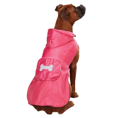 Casual Canine Fleece-Lined Stowaway Rain Jacket for Dogs, 14'' Small/Medium, Pink