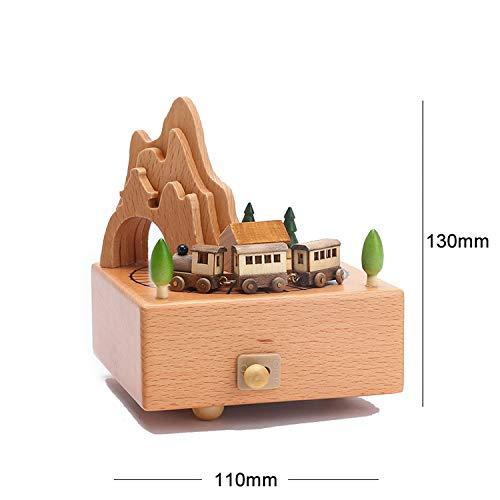 (Pumpkin-Kaariage Wood Music Box Musical Wooden Boxes Handmade Clockwork Craft Free Engrave Happy Birthday Home Decoration Accessories,Little Train)