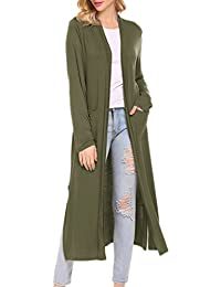Women's Soft Knit Longline Open Front Duster Cardigan With Side Pockets