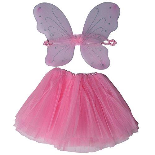 Girls Adorable Pastel Fairy Wing & Tutu Gift Set (Pink)