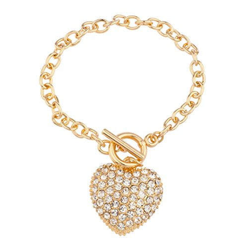 (Lux Accessories Pave Heart Toggle Chain Link Bracelet)