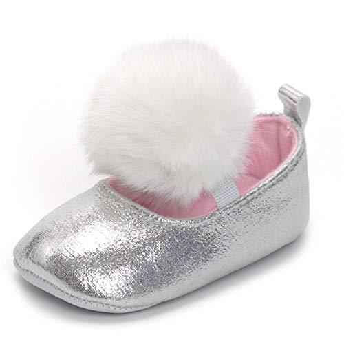 QINJLI Baby Shoes, Big Hair Ball Elastic Band Female Baby Single Shoes 0-1 Toddler Shoes Non-Slip Cute