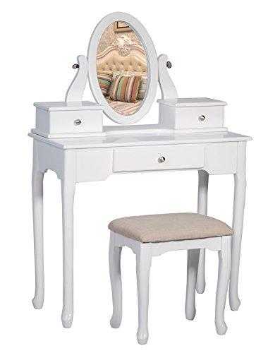 해외 3 개의 서랍과 거울 침실로 의자 드레싱 메이크업 테이블과 함께 Merax 허영심 세트 Merax