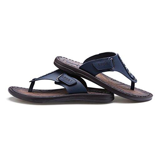 SHANGXIAN Deslizadores del verano de los hombres sandalias genuino cuero clásico Moda Casual Anti-que patina Blue
