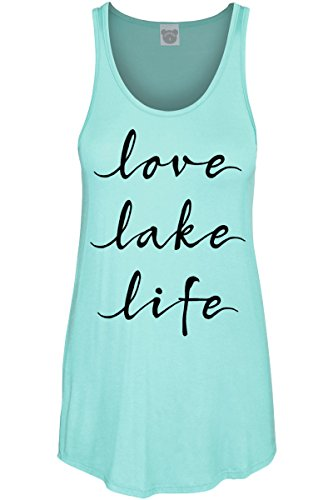 COLORBEAR Love Lake Life Scoop Neck Tank TOP Mint (Girl Lake)