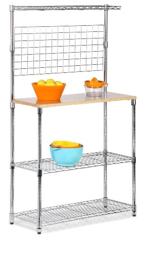 08 Bakers Rack with Kitchen Storage, Steel and Wood ()