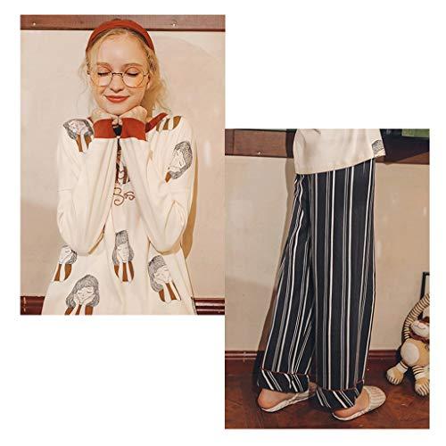 Larga Piezas Para color A Manga Casa Mujeres Size Rayas Algodón De 1 Mujer En Servicio Pijamas 1 L Dos Traje Conjunto Ancha Pantalones Pierna w0pUt