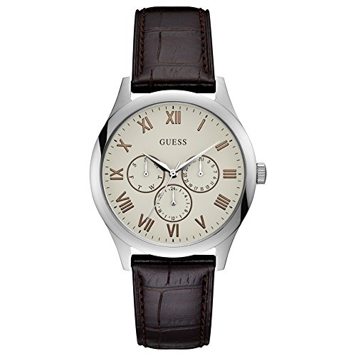 Guess Mens Analogue Classic Quartz Watch with Leather Strap W1130G2