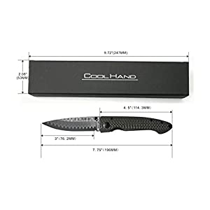 Cool Hand 3.25'' VG10 Damascus Liner Lock Folding Knife w/4.5'' Contoured Carbon Fiber Handle