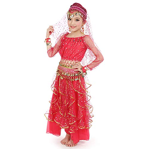 Maylong Girls Long Sleeve Arabian Princess Dress up Halloween Costume DW49 (Large, hot -