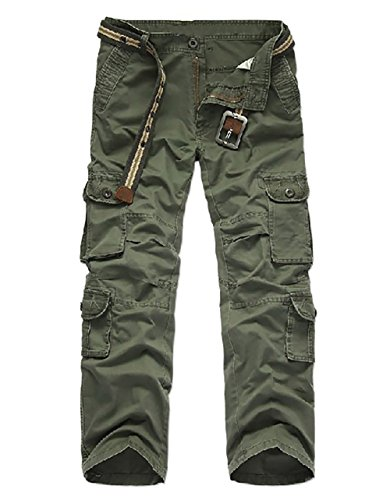 Cheruna Men's Loose Work Mid Rise Outdoor Straight Leg Cargo Pants Army Green 36 (Cargo Loose Straight Pant)