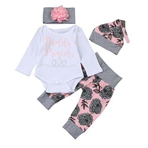 Woman Pirate Outfit Ideas (Baby Girl 4PCS Outfits Set,YJM Newborn Infant Baby Girl Letter Romper Tops+Floral Pants Hat Outfits Clothes Set (3-6 Months, White))