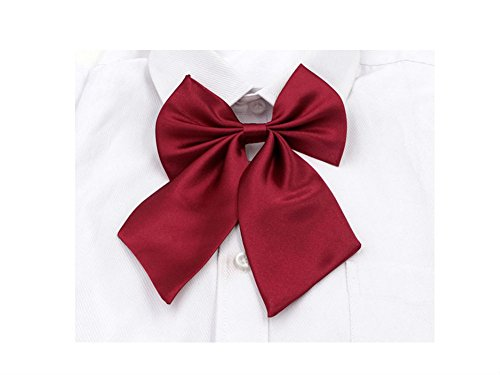 AKOAK Adjustable Pre-tied Bow Tie Solid Color Bowties for Women ties,Wine Red