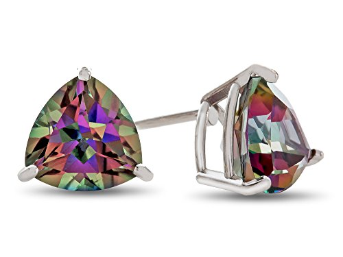 Trillion White Earrings - Finejewelers 7x7mm Trillion Mystic Topaz Post-With-Friction-Back Stud Earrings 10 kt White Gold