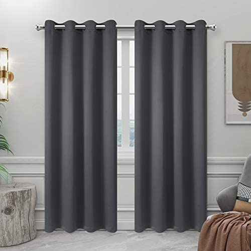 BESPIN Blackout Curtains Solid Thermal Insulated Grommet Room Darkening Window Treatment