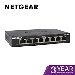 NETGEAR GS308 8-Port Gigabit Ethernet Network Switch, Hub, Internet Splitter, Desktop, Sturdy Metal, Fanless, Plug and Play
