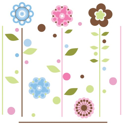 RoomMates RMK1278GM Growing Flowers Peel & Stick Giant Wall Decals ()