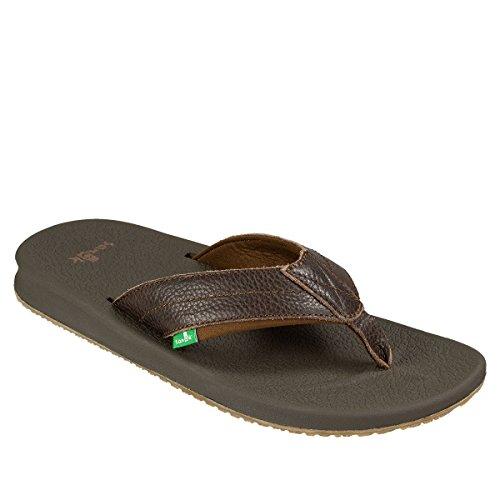 Sanuk Men's Brumeister Primo Flip Flop, Dark Brown, 11 M US (Leather Sandals Brown)