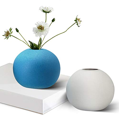 - GeLive Ceramic Bud Vase, Ikebana Artificia Flower Arrangement, Round Spherical Tabletop Centerpieces Vase, Hydroponics Container, Reed Diffuser, Arranging Bouquets Home Decor (White and Blue 2 Pack)