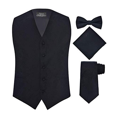 S.H. Churchill & Co. Men's 4 Piece Paisley Vest Set, with Bow Tie, Neck Tie & Pocket Hanky - M, Black - Paisley Satin Tie