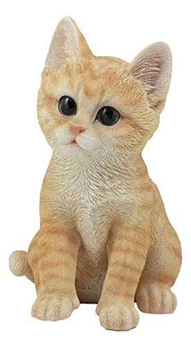 Ebros Lifelike Sitting Orange Tabby Cat Statue 7.5