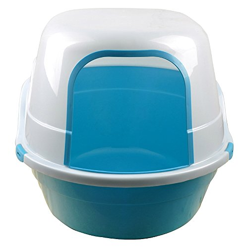 Sroute 25-Inch Cat Litter Box Extra Large Jumbo Covered Litter Pan Giant Enclosed Pets, Blue / White (Large Enclosed Cat Litter Box)
