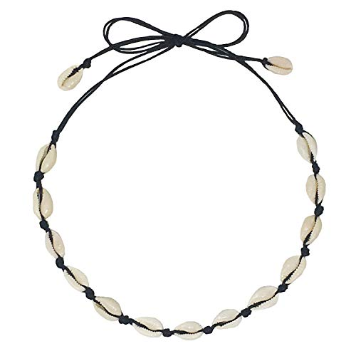 White Braid Necklace - CUSVUEVI Natural Shell Choker Necklace Black, Handmade Cowrie Shell Boho Beach Jewelry Adjustable for Womens and Girls