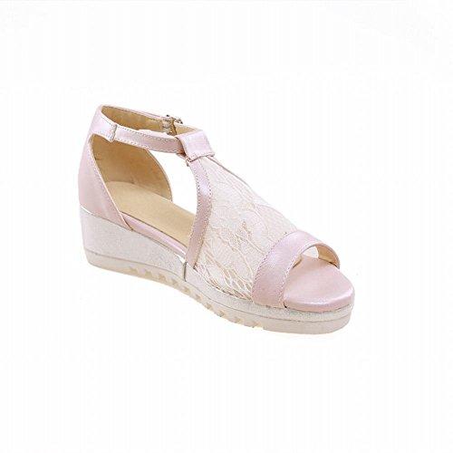 Mee Shoes Damen modern bequem süß open toe Knöchelriemchen Schnalle Mesh ankle strap Durchgängiges Plateau Sandalen Hellpink