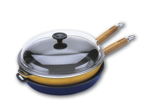 World Cuisine 11 inch diameter cast-iron frying pan with wooden handle and glass lid. The pan's interior is black with an exterior of blue.