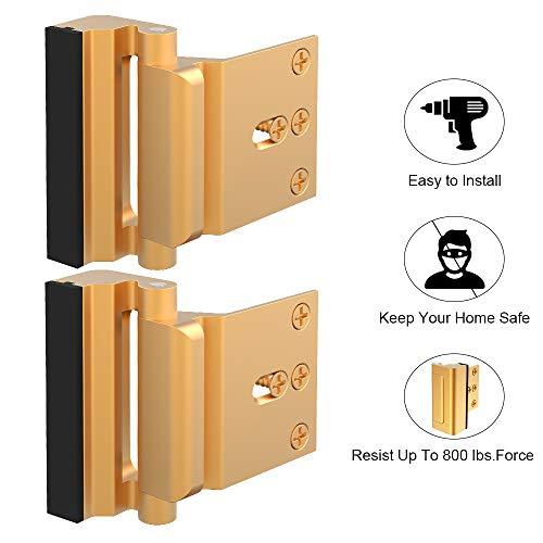 Home Security Door Lock, Childproof Door Reinforcement Lock with 3 Stop Withstand 800 lbs for Inward Swinging Door, Upgrade Night Lock to Defend Your Home (Gold-2 Pack)