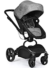 INFANS High Landscape Baby Stroller, 2 in 1 Reversible Bassinet Pushchair Pram with 360 Degree Rotation Frame, 2 Way Convertible Push, 5 Point Safety Harness, Easy to Fold