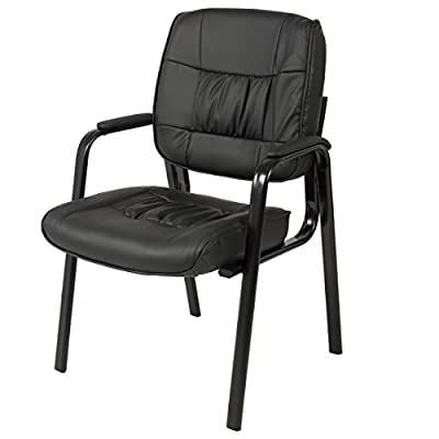 Best Choice Products Leather Office Chair Waiting Room Guest Reception Side Conference Chair Black