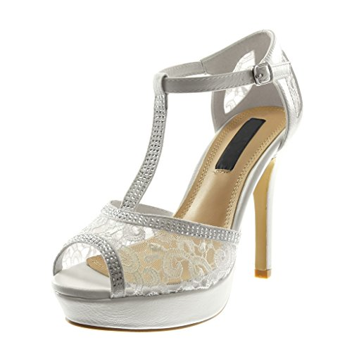 Angkorly Damen Schuhe Pumpe Sandalen - Stiletto - T-Spange - Peep-Toe - Strass - Spitze Stiletto High Heel 11.5 cm Weiß
