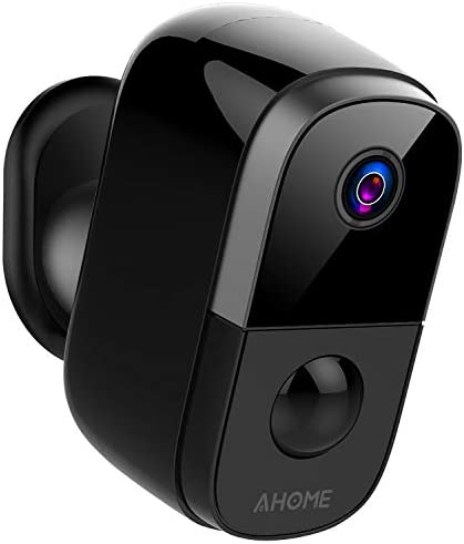 AHOME C1 Wireless Rechargeable Battery Powered Outdoor Security Camera Indoor Baby Monitor with PIR Motion Detection, Waterproof 1080P Night Vision, 2-Way Audio, 2.4Ghz WiFi, Cloud Storage – Black