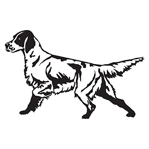 (English Setter Detailed (Black - Reverse Image - Small) Decal Sticker - Hunting Dog)