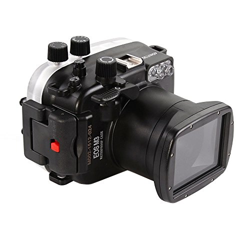 (MEIKON 130ft 40m Underwater Waterproof Camera Housings Case for Canon EOS M3 18-55mm Camera Lens)