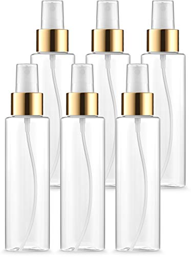 4oz Clear Fine Mist Spray Bottles with Gold Trim Atomizers and Dust Caps, Refillable, Reusable BPA FREE, Perfect for DIY Facial Spray, Aromatherapy, Perfume & Fragrance, Travel & on the Go (Pack of 6) ()