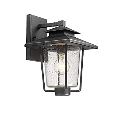 Bestshared Outdoor Wall Light, 1-Light Exterior Wall Mounted Light Sconce, Outdoor Lantern with Seeded Glass in Black Finish