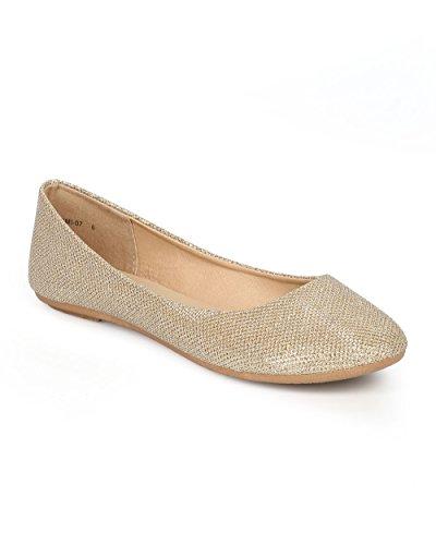 Oppdatere Cg89 Kvinner Glitter Shimmer Rund Tå Slip På Ballett Flat Champagne