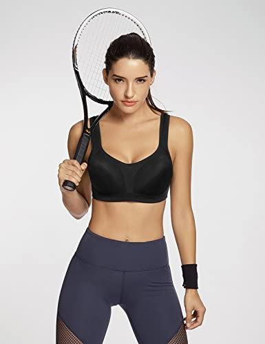 SYROKAN Women's High Impact Firm Support Contour Padded Underwire Adjustable Sports Bra