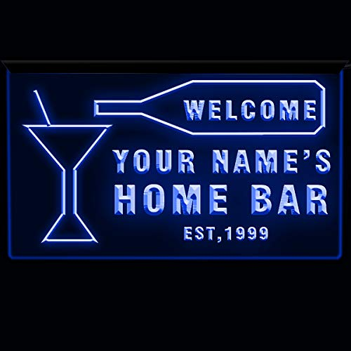 EAST-BIRD Text Personalized Home Bar Sign Neon Bar Decor 3D Engraving Blue/Green/White/Red (Dblue, 12