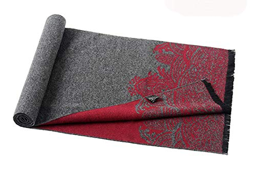 Scarf Men Change Amdxd Autumn per Pattern Grigio Retro 180cm Winter Silk Artificial Rq1qZcWEt