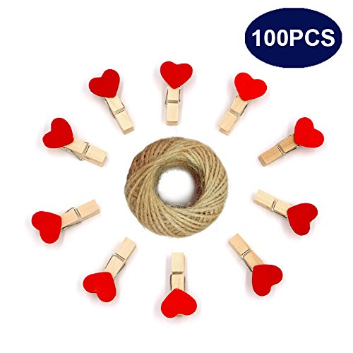 Wooden Clips,Mini Heart Shape Clothespins,Natural Wooden Photo Clips,Red Mini Craft Clips with 30M Jute Twine (Red 100PCS 3.5 x 0.6 CM) by jijAcraft