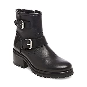 Steve Madden Women's Gain Motorcycle Boot, Black Leather, 8.5 M US