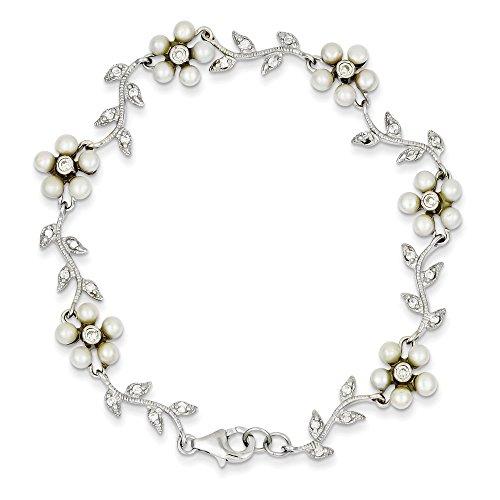 Argent Sterling avec perles de culture d'eau douce et diamant CZ Bracelet-Motif Floral 7 cm Anneau à ressort