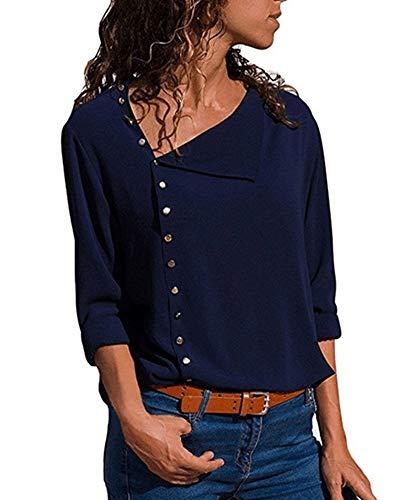 Up Longues Blouse Fonc Haut Casual Tunique Couleur T Shirt Button Top Femme Bleu Unie Mode Manches Chic Chemisier PRnqFSCqW